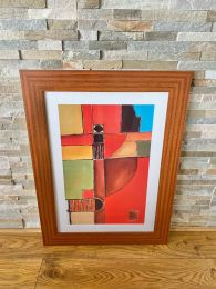 Ex-Hotel Walnut Framed Abstract Picture