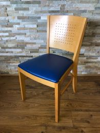 Lightwood Restaurant Dining Chair with Blue Faux Leather Seat Pad