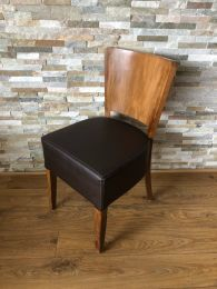 Ex Restaurant Dining Chair with Brown Leather Seat and Veneer Back