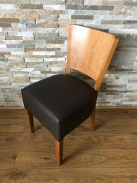 Ex Restaurant Dining Chair in Brown Leather with Veneer Back