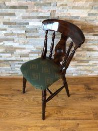 Ex Pub Bullseye Chair with Green Patterned Upholstery