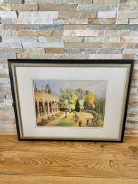 Ex-Hotel Black Framed Picture. Courtyard Scene with Arches