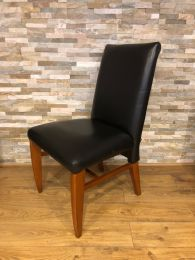 Ex-Hotel Restaurant Dining Chair with Black Leather Upholstery.