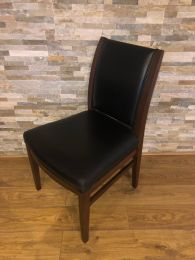 Restaurant Dining Chair with Black Leather Upholstery.