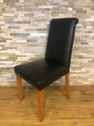 Ex-Restaurant Black Leather Scroll Back Chair