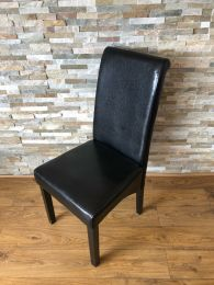 Ex Restaurant Scroll Back Dining Chair in Black Faux Leather