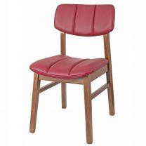 Burford Side Chair Oak & Burgundy