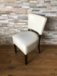 Used Restaurant Dining Chair in Cream Faux Leather