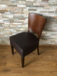 Ex Restaurant Dining Chair with Brown Seat and Veneer Back