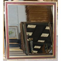 Large Red Green Framed Mirror