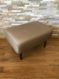 Used Footstool / Low Stool in Grey Leather