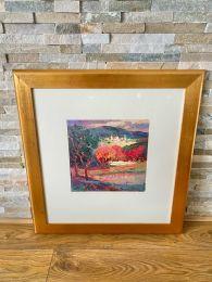 Ex-Hotel Large Gold Framed Picture. Vibrant Forest Scene.
