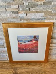 Ex-Hotel Large Gold Framed Picture. Vibrant Countryside Scene