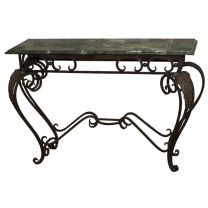 Ex Hotel Marble Console Table with Wrought Iron Base