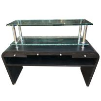 Rare and Unusual Console Table with 2 Glass Shelves , 2 Drawers and 2 Pull Out Writing Shelves.