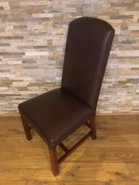 Used High Back Restaurant Dining Chair in Brown Faux Leather.