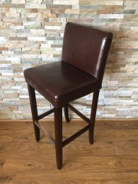 Used High Bar Stool in Brown Leather with Metal Foot Rail