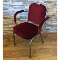 Stackable Banqueting Armchair with Red Upholstery