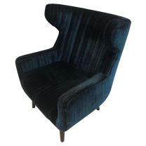 Extra Large Armchair Upholstered in Blue Fabric