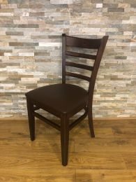 Ex-Restaurant Ladderback Chair with Dark Frame and Brown Faux Leather Seat