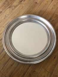Ex Hotel Large Round Mirror. 85cm Diameter with Silver Frame and Bevelled Glass