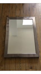 Ex Hotel Mirror with Silver Frame and Bevelled Glass