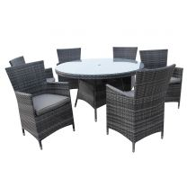 Malta Grey 6 Seater Rattan Outdoor Dining Set
