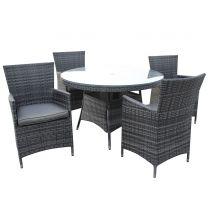 Malta Grey 4 Seater Rattan Outdoor Dining Set