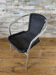 Used Stackable Outdoor Chair in Black Weave