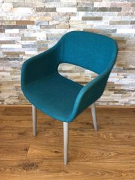 Pedrali Italian Designer Tub Chair Upholstered in Turquoise Fabric