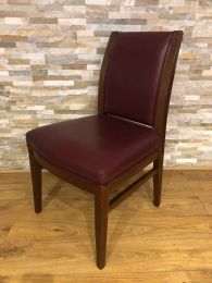 Ex-Hotel Restaurant Dining Chair with Red Leather Upholstery.