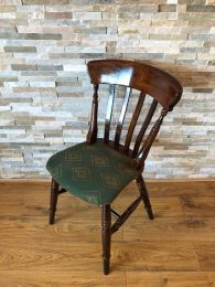 Ex Pub Slat Back Chair with Green Patterned Upholstery
