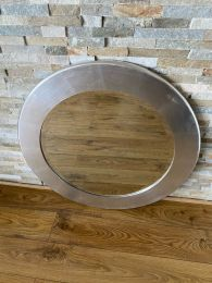 Ex-Hotel Round Mirror . Silver Frame with Bevelled Glass.