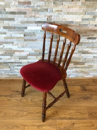 Ex Pub Spindle Back Chair with Red Upholstery