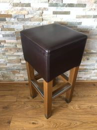 High Quality Bar Stool in Solid Wood with Metal Foot Rail.