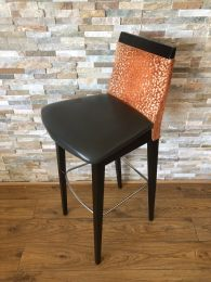 Used High Bar Stool with Grey Seat and Orange Upholstery