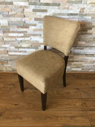Used Restaurant Dining Chair Upholstered in Pale Fabric