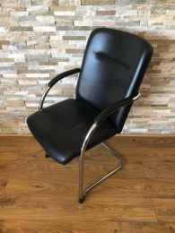 Burgess Stackable Conference Chair in Black Leather