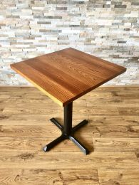 Ex-Showroom Pedestal Table with 60cm x 60cm Solid Wood Top.