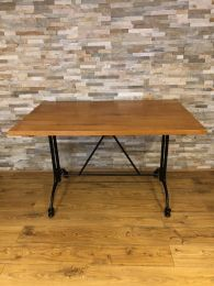 Ex Restaurant Dining Table with Solid Wood Top and Metal Base.