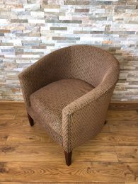 Ex Hotel Tub Chair with Brown Patterned Upholstery