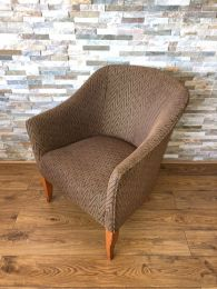 Used Hotel Tub Chair with Brown Patterned Upholstery