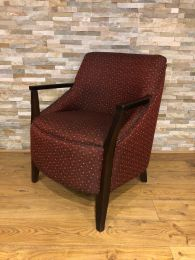 Luxury Ex-Hotel Armchair with Red Patterned Upholstery.
