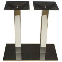 Twin Pedestal Chrome Finish - Dining Height Rectangle Table Base - Square Column