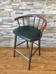 Ex Restaurant Three Quarter Height Stool with Green Leather Seat