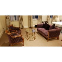 Ex Hotel Presidential Suite Set of Burr Walnut armchairs, coffee table and 2 seater sofa
