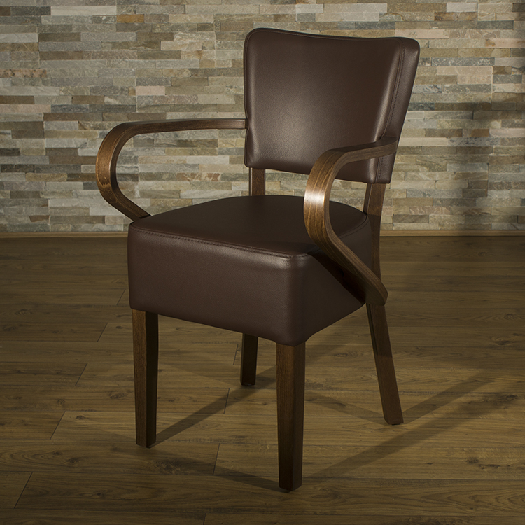 Belmont brown faux leather arm chair for May company furniture